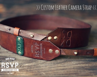 Custom Leather Camera Strap, Handmade personalized gift, Brown stain, Mustache glasses, Custom text, name initials