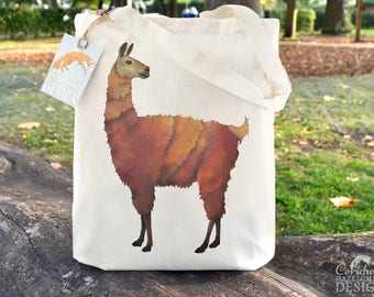 Llama Tote Bag, Ethically Produced Reusable Shopper Bag, Cotton Tote, Shopping Bag, Eco Tote Bag, Reusable Grocery Bag, Llama Gift