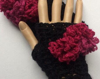 Black Mittens Fingerless Gloves Gauntlets Wristers Wrist Warmers