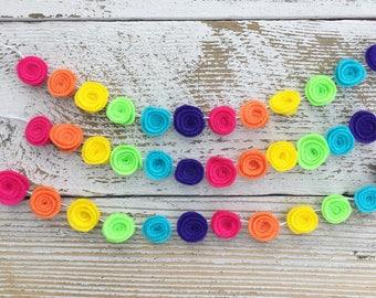 Bold Rainbow Mini-Mini Felt Rosette Garland