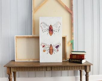 Original 15x36 Bumble Bee Acrylic Folk Art