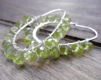 Green Peridot Hoop Earrings, Gemstone Hoops Sterling Silver, Peridot Hoops, August Birthstone, Simple Peridot Earrings