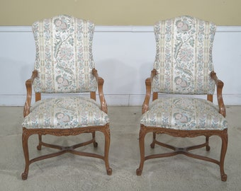 44697EC: Pair French Louis XV Style Upholstered Open Arm Chairs