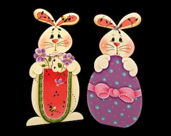 Bunny with Easter Egg or Watermelon Shelf Sitter, Handpainted Wood, Hand Painted Easter Home Decor, Tole Decorative Painting, B6