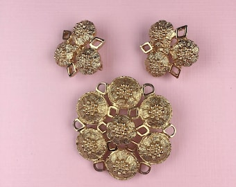Sarah Coventry Flower Brooch and Clip On Earring Set | Gold Tone | 1970s Vintage