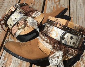 Cute Low UPCycled Cowgirl Boots Size 7.5 - Boho style Bootie boots - cowboy Boots size 7.5