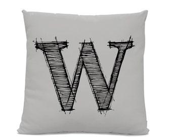 Initial Pillow - Letter Pillow - Pillow with Letter W - Monogrammed Pillow - Custom Throw Pillow