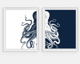 Octopus Art Print, Nautical Wall Art, Sea Life, Set Of Two Prints, Navy  Blue Octopus, Beach House Decor, Coastal Wall Art, Octopus Wall Art