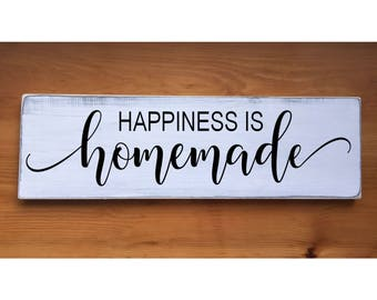 """Happiness is Homemade Rustic Farmhouse Style Handmade Wooden Sign Wall Art Distressed Home Decor  7.25""""x 24"""""""