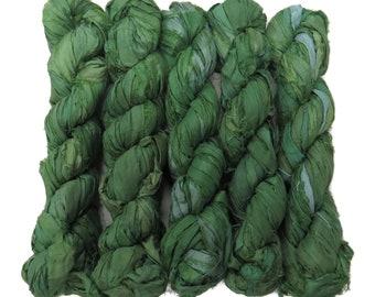 New! 50g Sari Silk Ribbon, 25-28 yards , color Wasabi