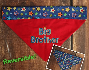 Big Brother Dog Bandana - Baby Announcement Dog - Pregnancy Announcement Dog - Big Brother Bandana - Reversible Dog Bandana - Big Sister
