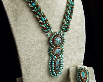 Necklace and ring jewelry beadwork azurite mint- turquoise color. Beaded jewelry set. Bead embroidery pendant.