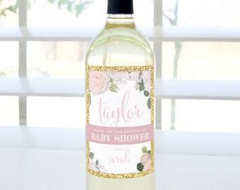 Thank You for Hosting My Baby Shower Custom Wine Bottle Label (Pink & Gold) - Hostess Gift