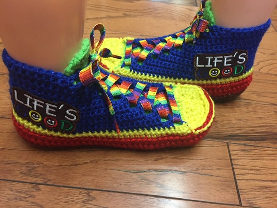 Womens Slippers Tennis Rainbow Crocheted Good Listing Slippers 445