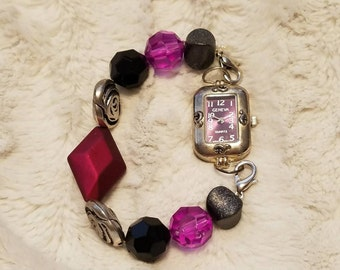 Purple and Black Beaded Interchangeable Watch With Band