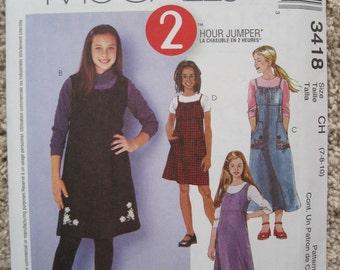 UNCUT McCalls Pattern 3418 Girl's Jumper in Two Lengths