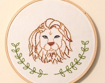 Lion and Laurel Embroidered Hoop Art - Jungle Nursery Decor - Leo Zodiac - Lion Gift for Baby