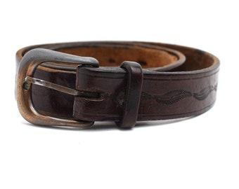 Vintage Hand Made Mens Leather Belt Brown Size 34