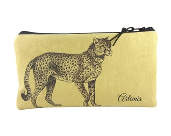 Cheetah Pencil Case with Name, Animal Pencil Bag,  Wild Cat Linen Zip Pouch in Golden Yellow