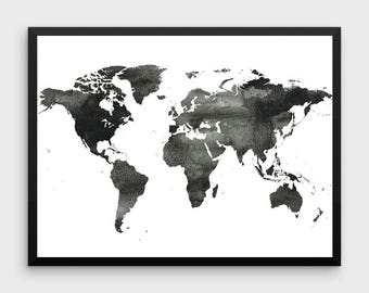 World Map Poster | Water Color World Map, World Map Print, Black and White World Map, Scandinavian Print, Map Poster, World Map Printable