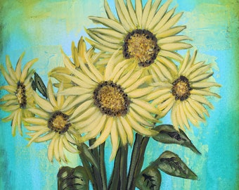 Sunflower Painting Textured Original Six Sunflowers Painting by artist Rafi Perez on Gallery Wrapped Canvas