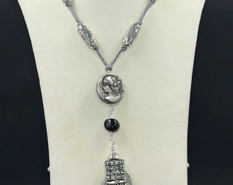 Mayan pewter db couture coin silver necklace