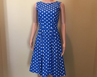Royal Blue Polka Dot Career Dress