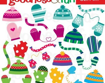 Buy 2, Get 1 FREE - Smitten With Mittens Clipart - Digital Winter Accessories Clipart - Instant Download