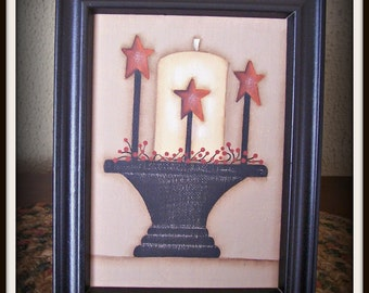Primitive Candle Star 5 x 7 Framed Canvas Home Decor Picture