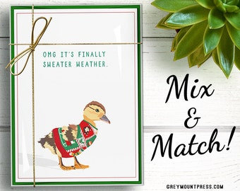 Funny Duck Christmas Cards 15-pack. Christmas cards boxed set. Funny Christmas card pack. Funny Christmas card set, ugly Christmas sweater
