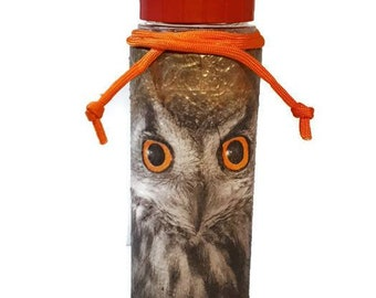 Owl design special decoupage handpainted artwork water flask, hydro flask & juice flask gift idea for owl fans owl lovers gift owl fanatic