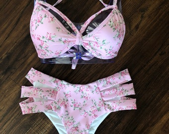 Pink Floral Strappy Top With Mid-rise Cheeky Strappy Bottoms // Mix Sizes // Padding Included