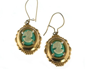 SALE--Gold Plated Blue Cameo Earrings