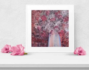 Roses Floral Abstract Art Painting PRINT