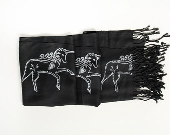 SIlk Blend Printed Folk Unicorn Scarf Black/Silver