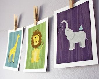Nursery Wall Decor Jungle Animals - 3 - 8 x 10 Baby Jungle Children Decor, Nursery Decor, Nursery Wall Art, Children's Wall Decor