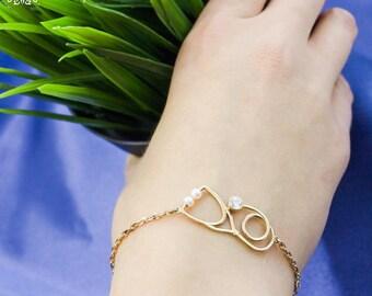 Silver Stethoscope Bracelet-Stethoscope Charm-Doctors Gift-Nurse Gift-Medical Jewellery-Nurse Jewellery-Nurse Gift-Silver Jewellery-MD Gift