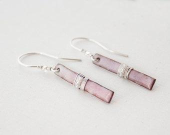 Wire Wrapped Bar Earrings - Blush Pink Earrings - Pastel Pink Earrings - Pink Enamel Earrings - Bridesmaids Earring Gift