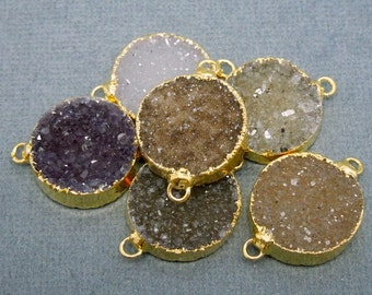 Round Druzy Double Bail Pendant Connector Edged in Electroplated 24k gold 20mm CRD (S11B11-06)