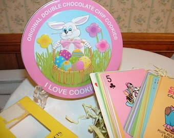 1985 Crazy Eights card game Bunny tin and Rabbit in Egg brooch