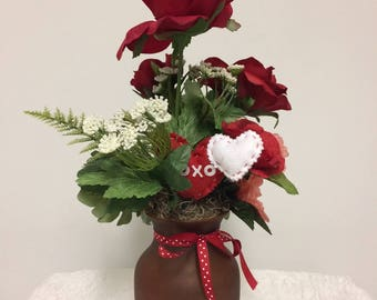 Xoxo Valentines Day Silk Floral Arrangement