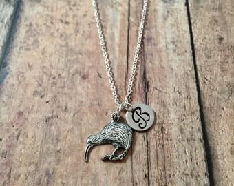 Kiwi initial necklace - kiwi jewelry, Australia jewelry, bird jewelry, pewter kiwi pendant, Australia necklace, kiwi bird pendant