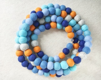 Mother gift Felted merino wool Felt necklace ball Wool felt beads  Blue wool necklace Wool jewelry Colorfull happiness Scarf necklace