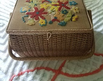 Large Vintage Storage Basket / Vintage Sewing Needlepoint Basket / Craft Storage / Basket /