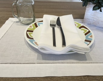 12 White Linen Hemstitch Table Placemats 14x20 Inch Wedding Bridal Party Set of 12 ***FREE SHIPPING***