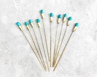 Turquoise Gemstone Hair Stick | brass hair stick pin | boho crystal blue hairstick | simple gold metal hammered hair pin | hair chopsticks
