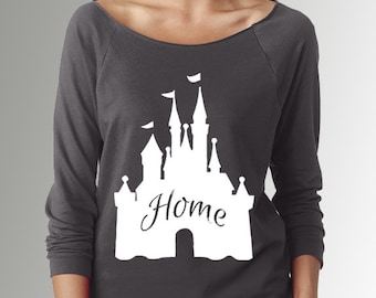 Disney Castle * Home * Dark Gray * 3/4 Sleeve Raglan Boat Neck * Summer Sweater/Shirt * Disney Attire * Disneyland/World
