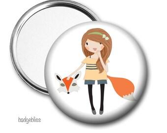 Fox Girl pocket mirror, purse mirror
