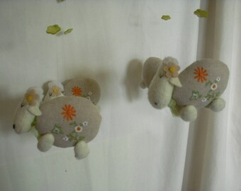 Mobile for child's room or baby, sheep and rabbits-based