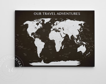 Custom canvas map etsy push pin travel map world map canvas our travel adventures world map push gumiabroncs Image collections